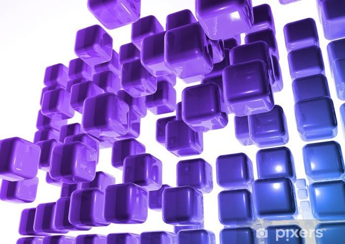 Tilaa seinä kuutio mauve et bleu Vinyyli valokuvatapetti - Kyltit Ja Symbolit