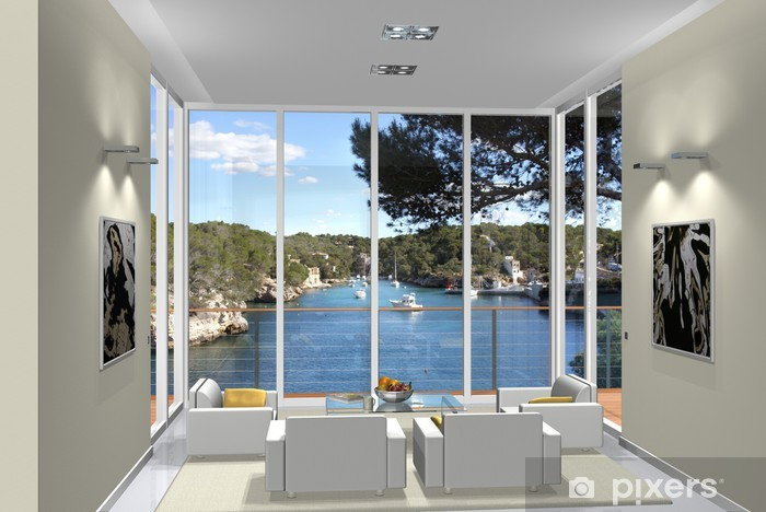 Carta da parati 3d rendering living room window bay for Parati da salone