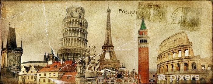 Fototapeta samoprzylepna Archiwalne karty pocztowe - ruropean wakacje - Tematy