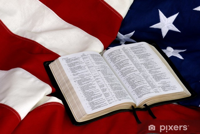 Fotomural Biblia Abierta Sobre Bandera Americana Pixers Vivimos