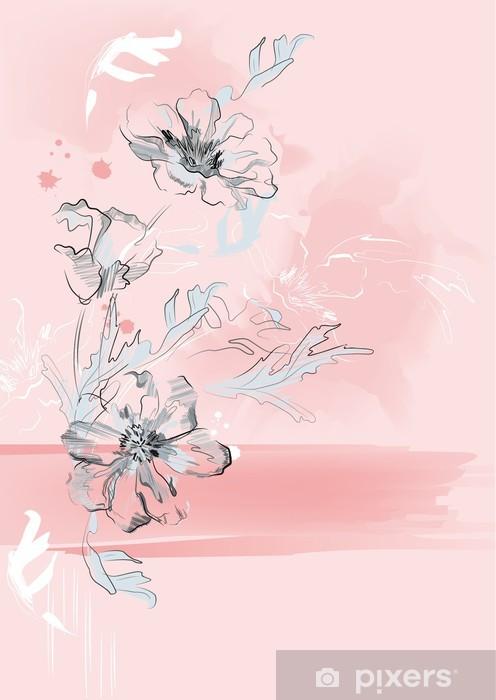Carta Da Parati Fiori Su Uno Sfondo Rosa Artistica Verticale
