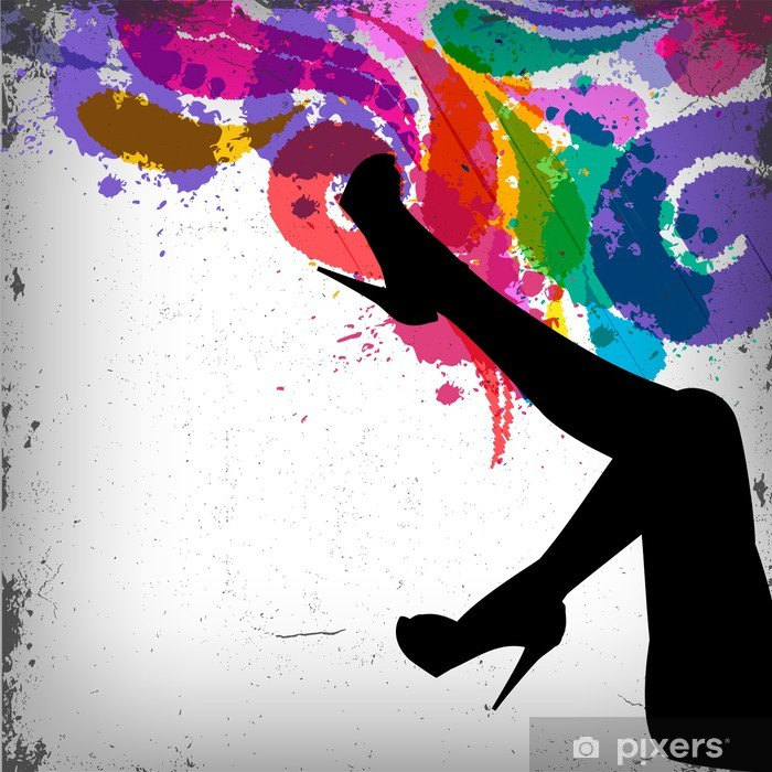 Abstract colorful background with woman legs silhouette Poster - Fashion