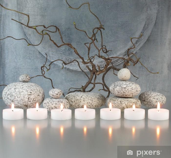 Sticker Pixerstick Brindilles, pierres, bougies - Destin