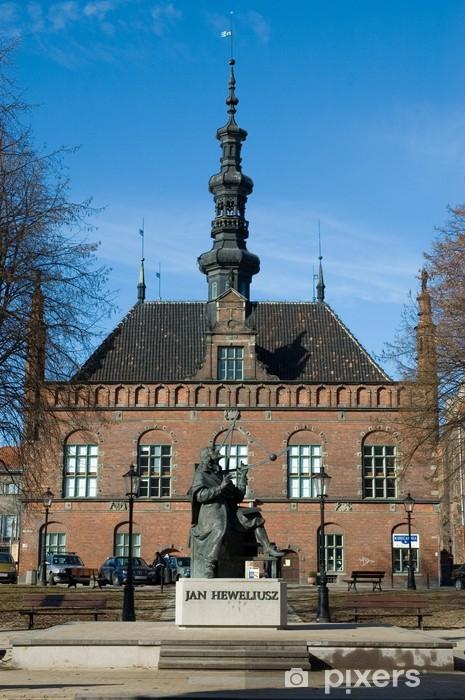 Naklejka Pixerstick Heweliusz pomnik i stary ratusz gdansk - Europa