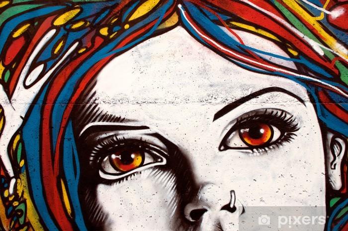Vinilo Pixerstick El graffiti de estilo moderno en la pared de ladrillo. - Caras