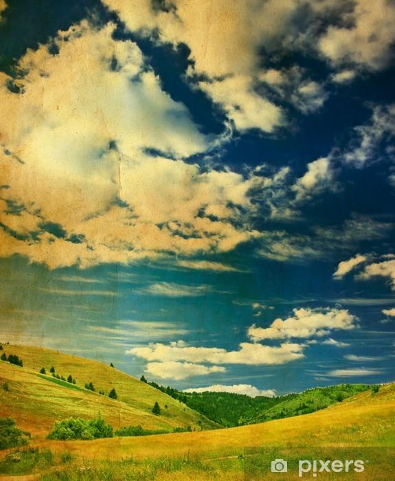 Vinyl-Fototapete Grunge-Foto von grünen Feld und blauer Himmel - Zeit