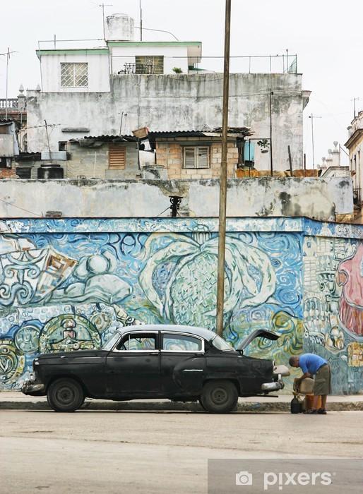 Fotomural Estándar Coches de época y mural, La Habana - Cuba