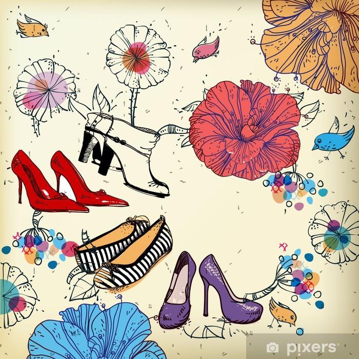 Fototapeta winylowa Fantazja tło wektor z kwiatami i buty mody