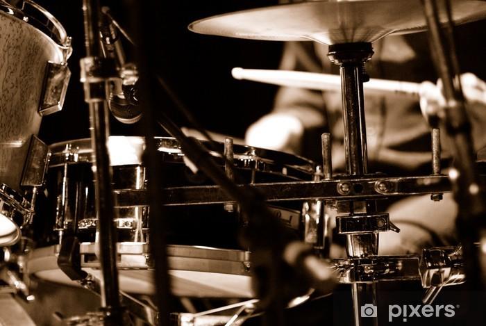 Vinyl Fotobehang Drummer op het podium - jazz