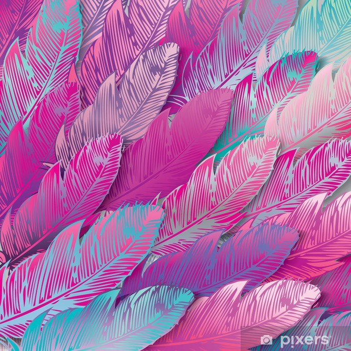 Seamless background of iridescent pink feathers, close up Pixerstick Sticker - Styles
