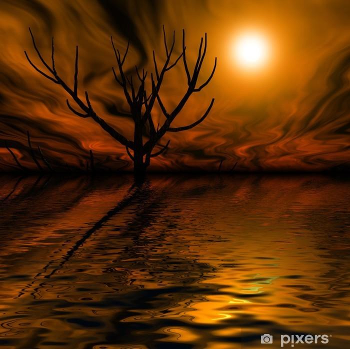 Poster Paesaggio notturno notte nebbiosa - Esoterismo