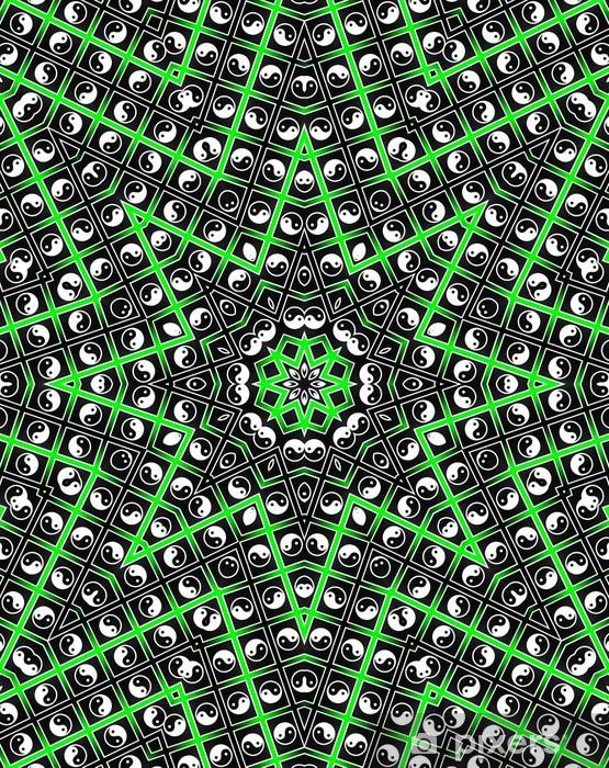 Green Star Mandala - Oktogon Style Vinyl Wall Mural - Religion