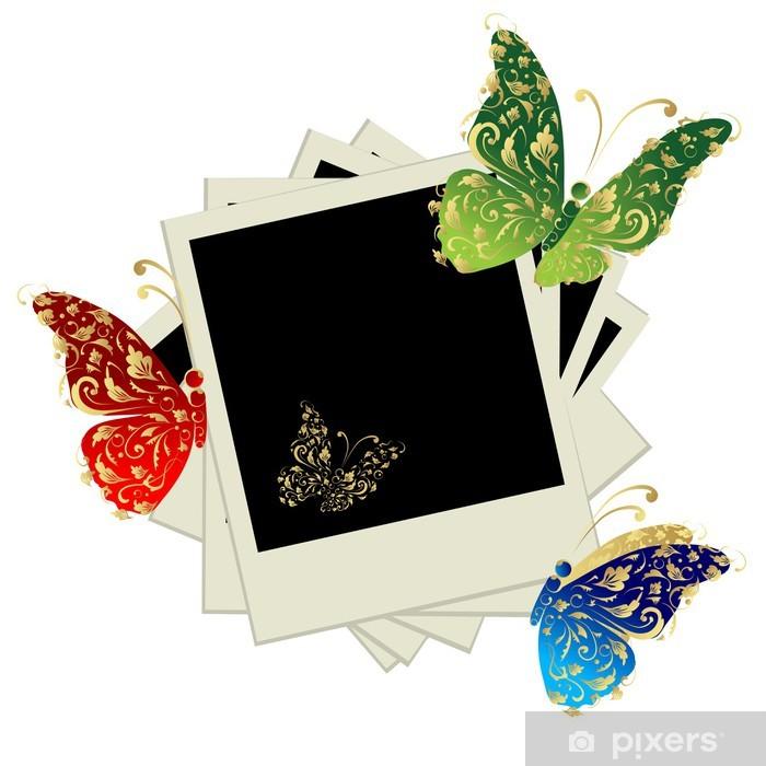 Papier peint vinyle Pile de photos, insérez vos photos dans des cadres, papillon - Temps
