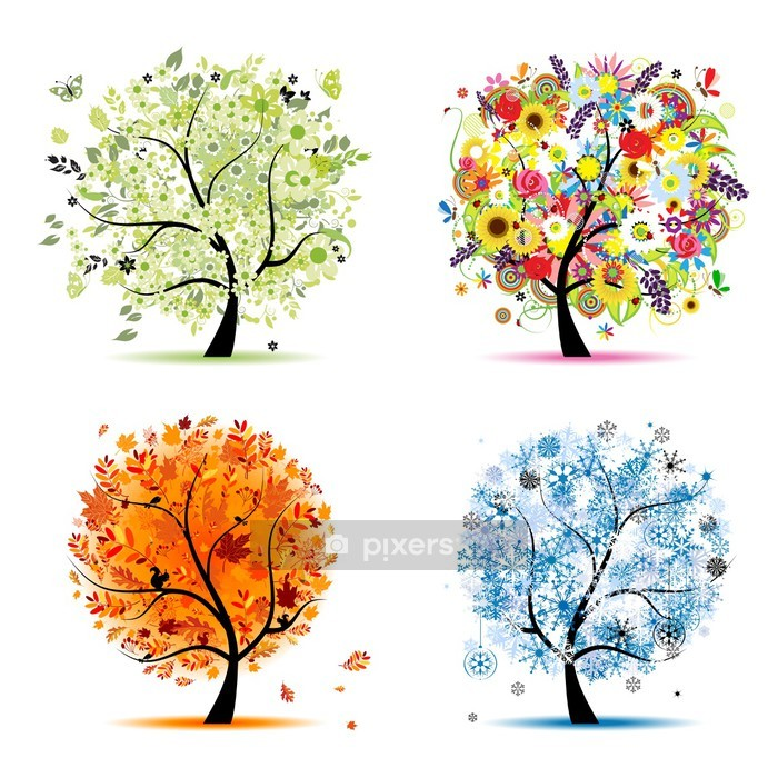 Four seasons - spring, summer, autumn, winter. Art trees Wall Decal - Wall decals