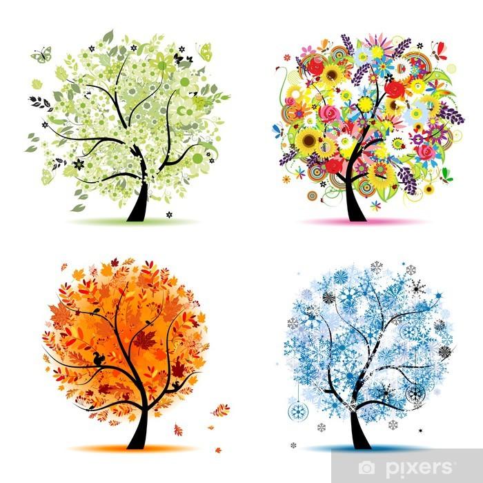 Naklejka Pixerstick Cztery pory roku - wiosna, lato, jesień, zima. drzewa sztuki - Naklejki na ścianę