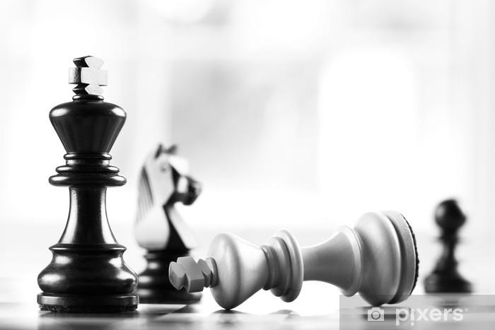 Adesivo Pixerstick Checkmate nero sconfigge re bianco - Concetti di Business