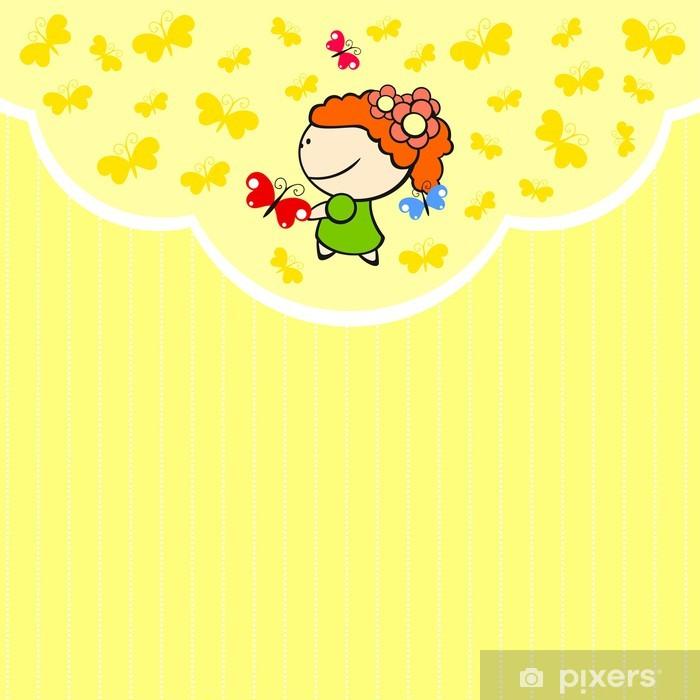 Plakat Cute karty z małej dziewczynki i motyli - Inne Inne