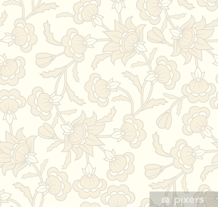Seamless wallpaper pattern with floral elements. Vinyl Wall Mural - Backgrounds