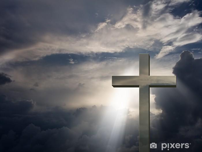 Papier peint vinyle Croix dramatique - Religion