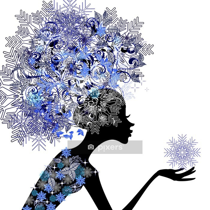 Lady winter with snowflakes Wall Decal - Fashion