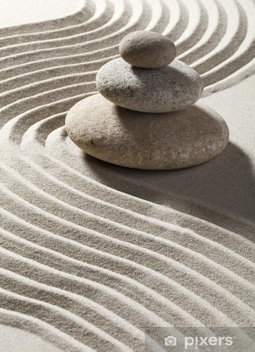 Papier peint vinyle Onde zen sur sable et galets Trois - Destin