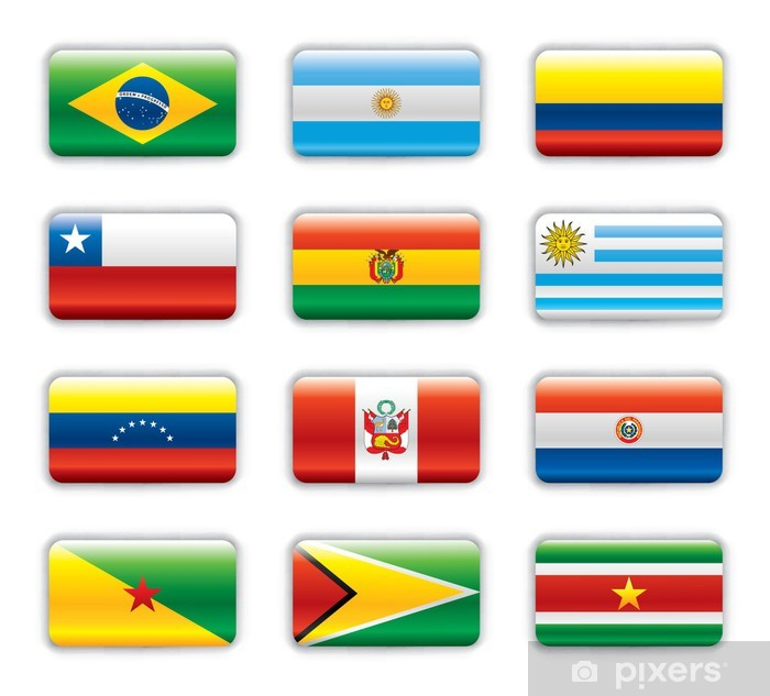 Fotomural Estándar Extra banderas brillantes - América del Sur - Señales y símbolos