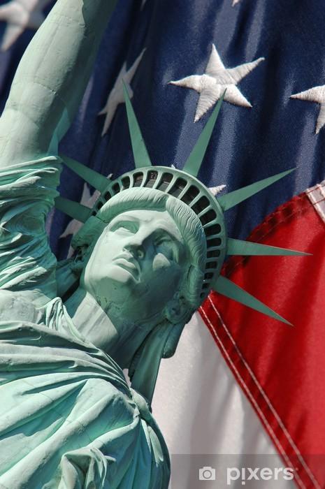 Papier peint vinyle La statue de la liberté et les étoiles et les rayures - Liberté
