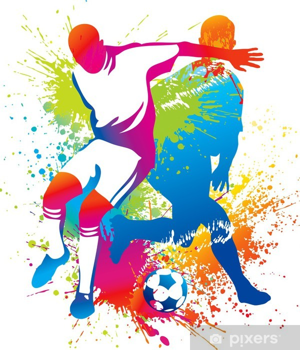 Soccer players with a soccer ball Vinyl Wall Mural - Destinations