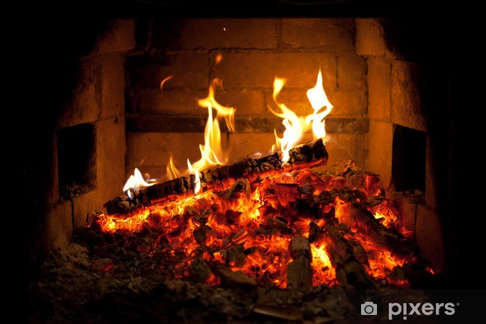 Fototapeta winylowa Ogień płonący w kominku - Tekstury