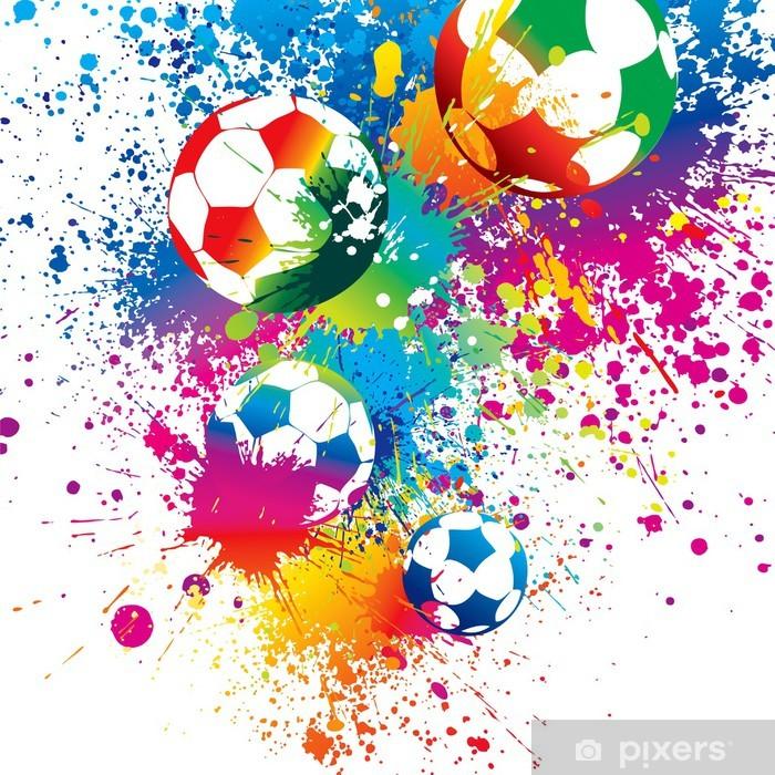 Decoratief sierkussen De kleurrijke voetballen op een witte achtergrond - Tekens en Symbolen