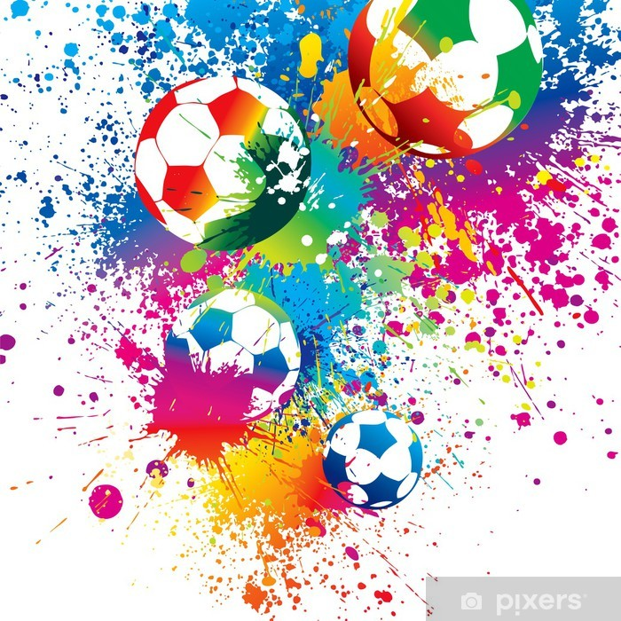 The colorful footballs on a white background Vinyl Wall Mural - Signs and Symbols