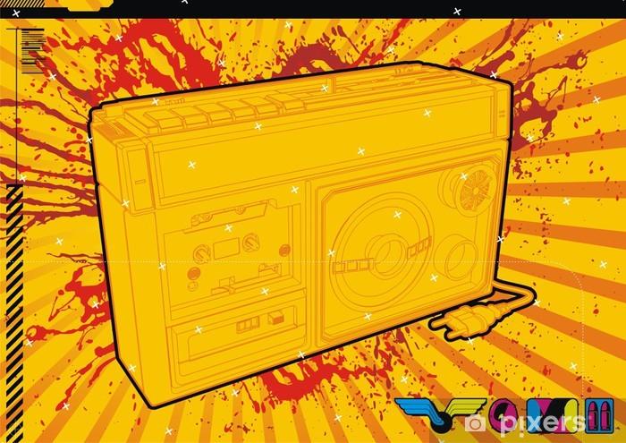 Fototapeta winylowa Szczegółowych ilustracji stylu retro 80 w Blaster getta. - Hip Hop