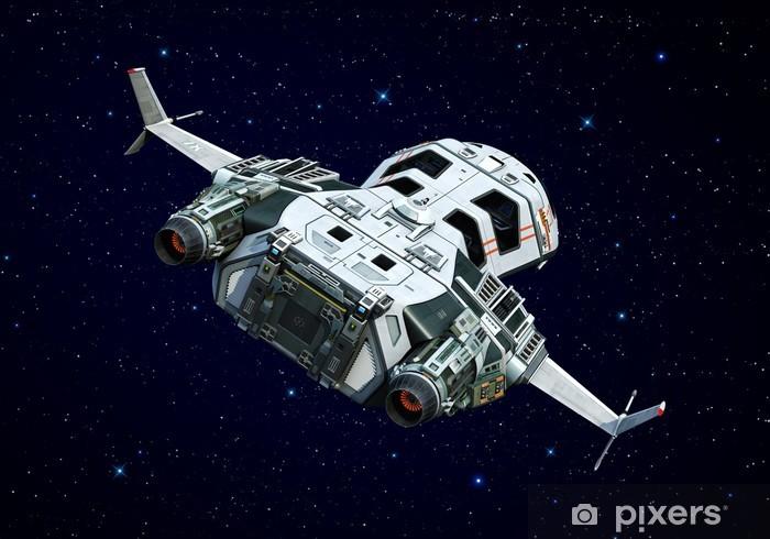 Sticker Pixerstick Vaisseau spatial tournant autour - Dans les airs