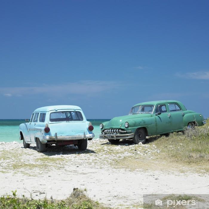 Plakat w ramie Stare samochody, Playa del Este, Havana Province, Kuba - Kuba