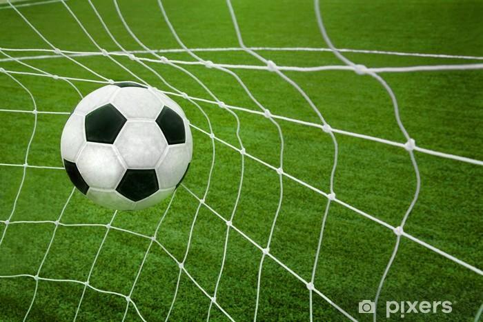 Fototapete Goal Ein Fussball Ball In Einem Netz