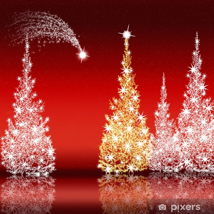 Stella Cadente Di Natale.Poster Albero Di Natale E Stella Cadente Contro Un Cielo Rosso Pixers Viviamo Per Il Cambiamento