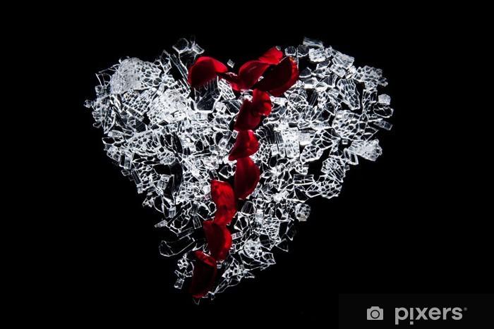 Papier peint vinyle Verre brisé de coeur - Bonheur
