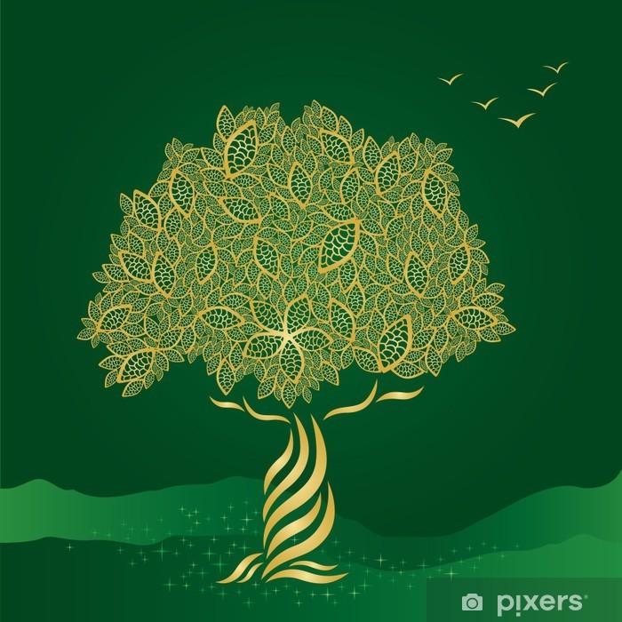 Vinyl-Fototapete Goldene stilisierten Baum auf grünem Hintergrund - Jahreszeiten
