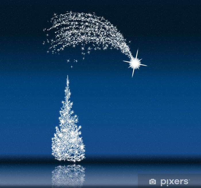 Stella Cadente Di Natale.Carta Da Parati Albero Di Natale E Stella Cadente Nella Notte Blu Pixers Viviamo Per Il Cambiamento