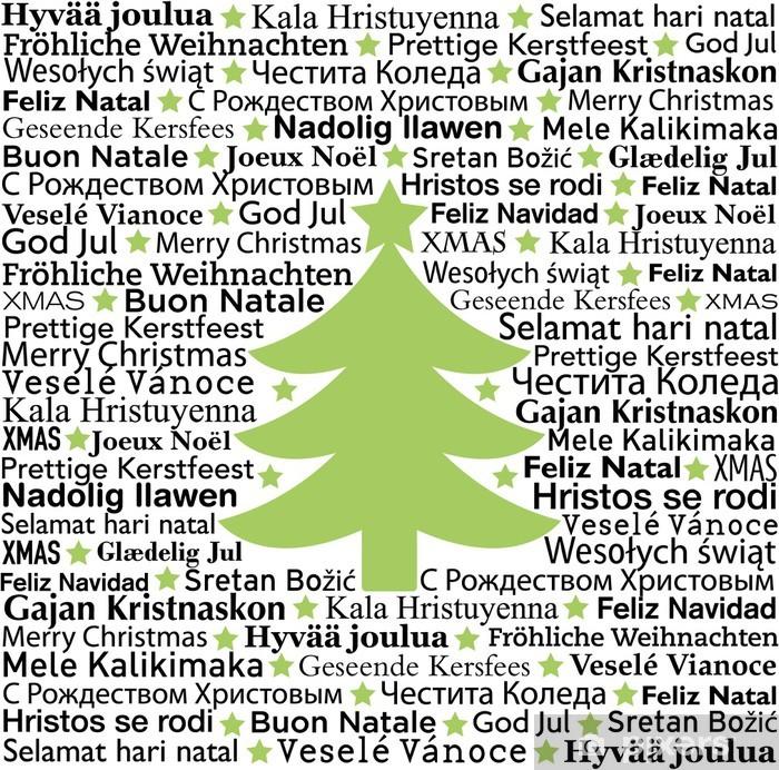 Fotobehang Vinyl Merry Christmas In Verschillende Talen Typografische Achtergrond