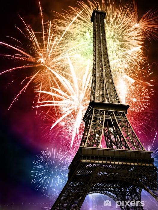 Vinyl Fotobehang Eiffel met vuurwerk - Thema's