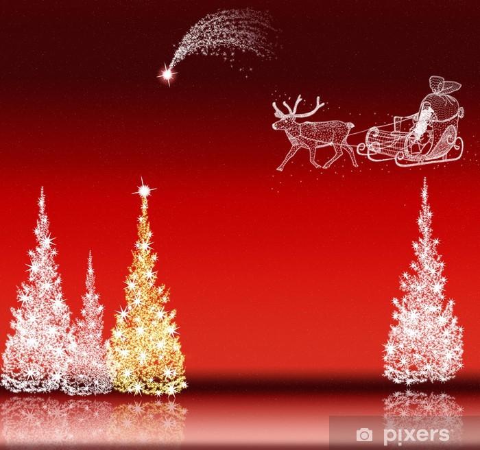 Stella Cadente Di Natale.Carta Da Parati Babbo Natale Albero Di Natale E Stella Cadente Sul Rosso Pixers Viviamo Per Il Cambiamento