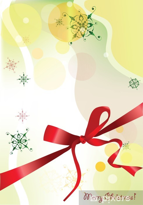Elegant Christmas Background Images.Elegant Christmas Background With Bow Of Red Ribbon Wall Mural Vinyl