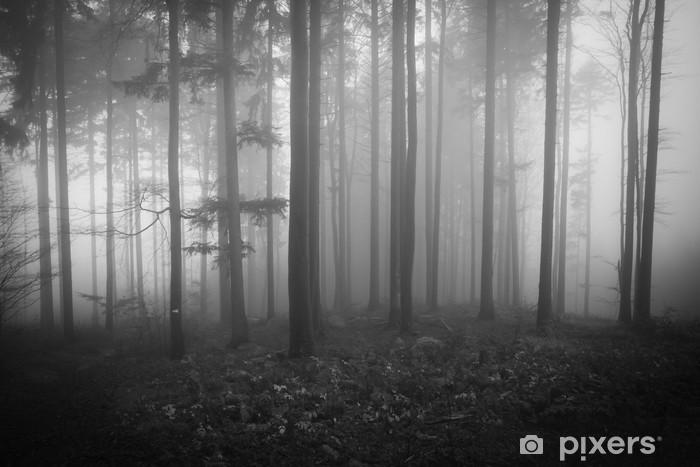 Pixerstick Sticker Mistige bos - Bomen
