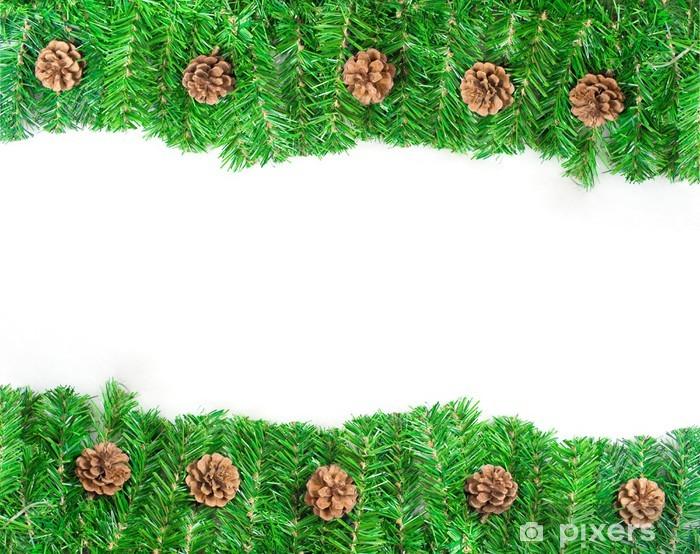 Papier Peint Cadre De Noel Vert Avec Des Aiguilles De Pin Et De