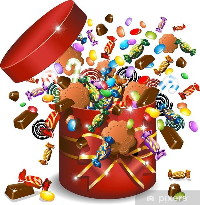 Papier peint vinyle Boîte de bonbons au chocolat et cookies-bonbons-cadeau vecteur - Célébrations