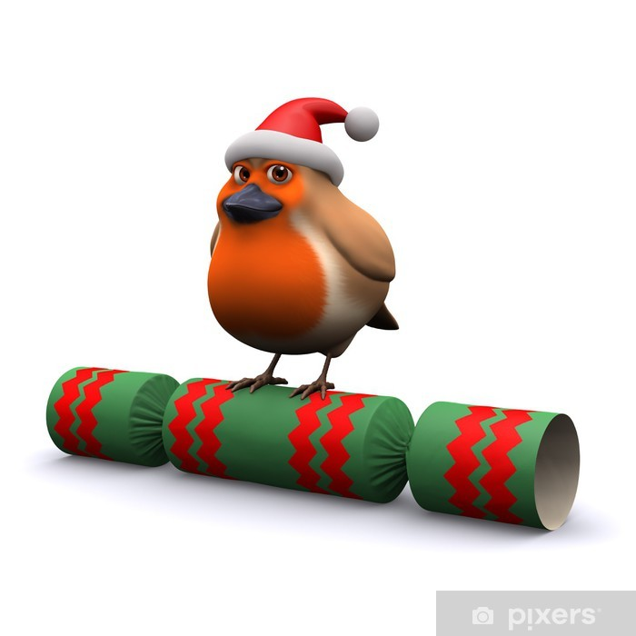 Fototapeta winylowa 3d robin na christmas cracker - Święta międzynarodowe