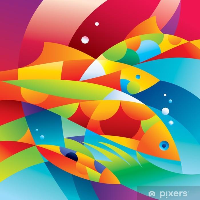 Fotomural Estándar Abstractos coloridos peces cerca de los arrecifes de coral - Arrecife de coral