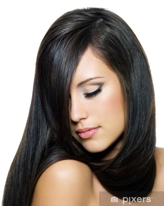 Sticker Pixerstick Femme avec de beaux longs poils bruns - Destin