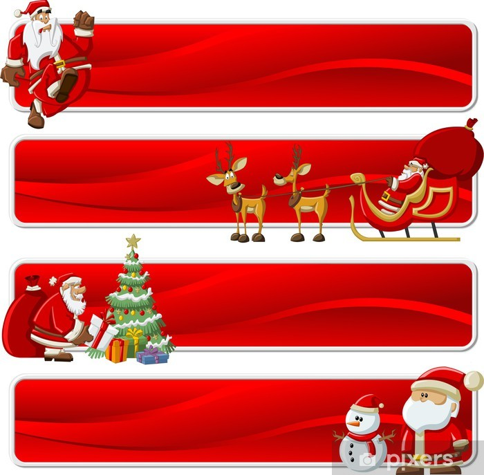 Christmas Banners.Wall Mural Vinyl Christmas Banners With Santa Claus